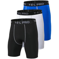 3Pcs Compression Running Shorts The Fitness Trainer Store Black White Blue S