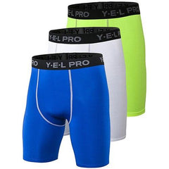 3Pcs Compression Running Shorts The Fitness Trainer Store Blue White Green S