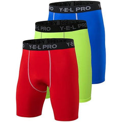 3Pcs Compression Running Shorts The Fitness Trainer Store Red Green Blue S