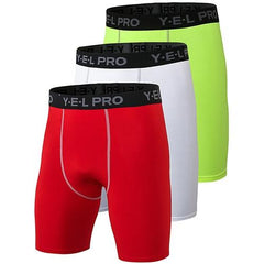 3Pcs Compression Running Shorts The Fitness Trainer Store Red White Green S