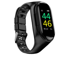 Cross-border new smart watch bracelet running sports pedometer heart rate color screen bracelet dual Bluetooth headset two in one EZ FIT ME black