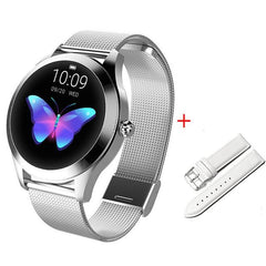 Smart Watch Women The Fitness Trainer Store Silver+ White Band