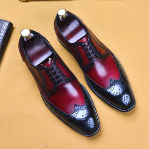 Genuine Leather Brogue Business Shoes for Men