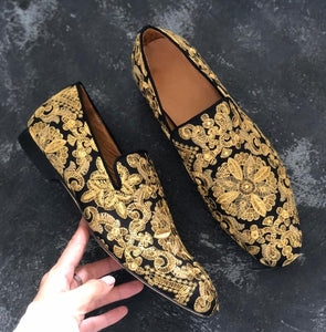 Men's Gold Embroidered Loafers