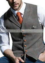 Load image into Gallery viewer, Men's Notched Plaid Wool Waistcoat