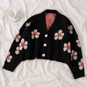 College Style Flower Print Loose Cardigan