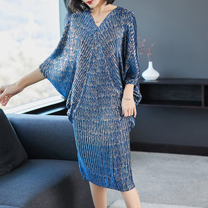 New Fashion Pleated Batwing Sleeve Big Size Dress
