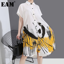 Load image into Gallery viewer, Women's White Pattern Printed Split Big Size Dress