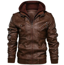 Load image into Gallery viewer, Men's Leather Hooded Jacket
