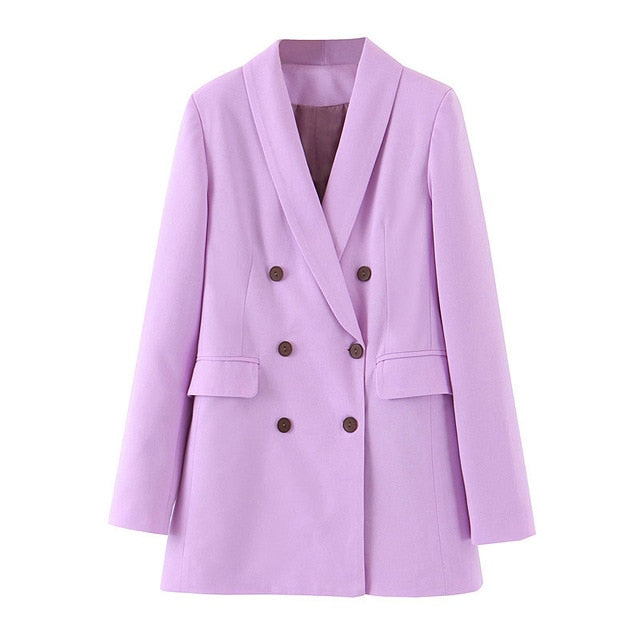 Tangada Women Purple Blazer - Long Sleeve Korea Style