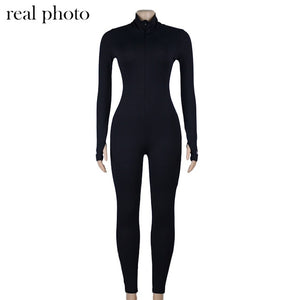 Simenual Workout Active Wear Ribbed Ladies' Jumpsuit