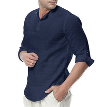 Load image into Gallery viewer, Men's Summer Long Sleeve Cotton Linen Shirts