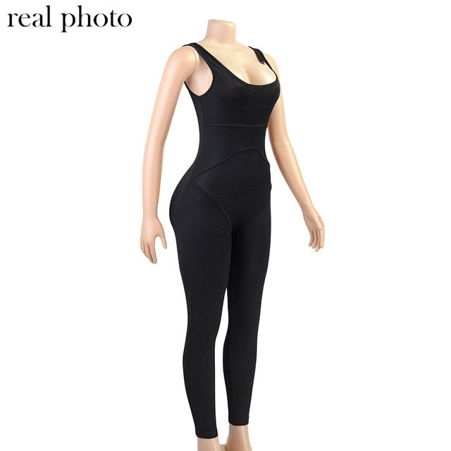 Simenual Ribbed Casual Workout Ladies' Jumpsuit