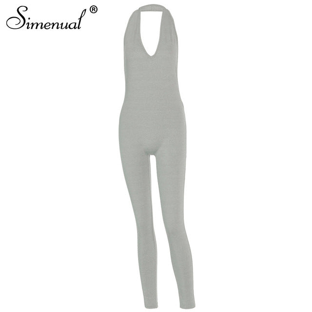 Simenual Solid Bodycon Jumpsuits