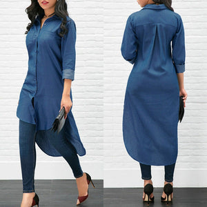 Long Women's Denim Shirt