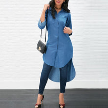 Load image into Gallery viewer, Long Women's Denim Shirt