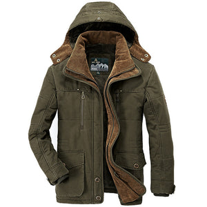 Thick Warm Male Hooded Casual Fleece Liner Parka