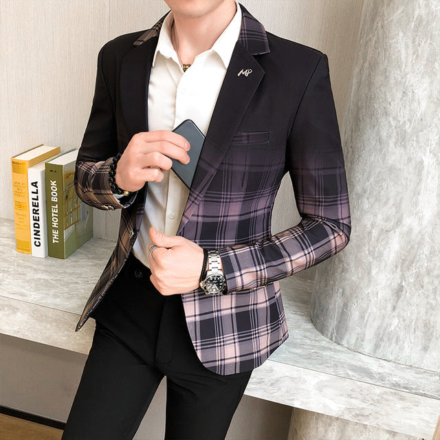 Male Masculino British Style Plaid Blazer