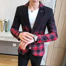 Load image into Gallery viewer, Male Masculino British Style Plaid Blazer