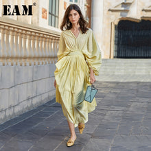 Load image into Gallery viewer, Backless Pleated Yellow Long Dress