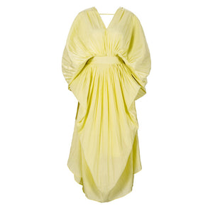 Backless Pleated Yellow Long Dress