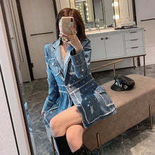 Load image into Gallery viewer, Ladies' Casual Blue Denim Jacket