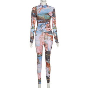 Ladies' Aesthetic Printed Long Jumpsuits