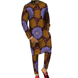 Dashiki Print Long Shirt and Pants Combo