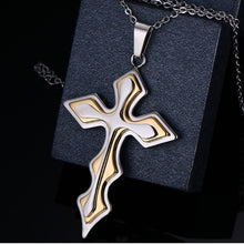 Load image into Gallery viewer, Stainless Steel Multi-Layer Gold Cross Necklace Pendant