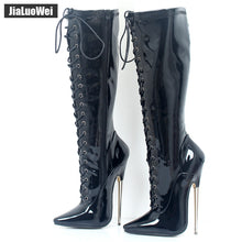 Load image into Gallery viewer, jialuowei 18cm High Heel Solid Brass Thin Heel Boots