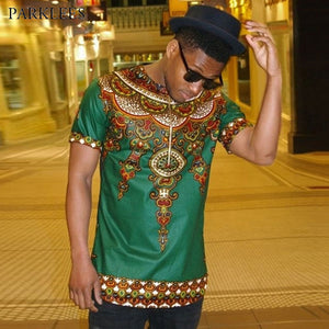 Men's African Print Dashiki Slim Fit Shirt
