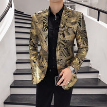 Load image into Gallery viewer, Luxury Gold Stripes Print Blazer