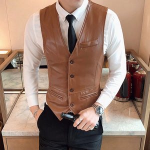 Vintage Leather Casual Slim Fit Waistcoat