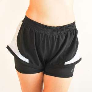 ROXY Double Layer Shorts - Black & White
