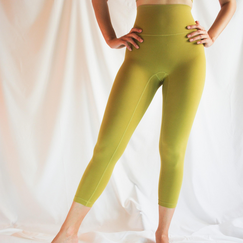 LUSH Series: Capri Leggings with Slit Pocket - Amber Gold