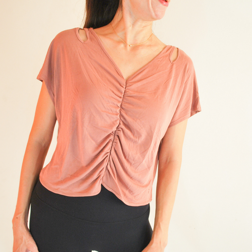 SANDY Shoulder Cut-Outs Top - Rusty Rose