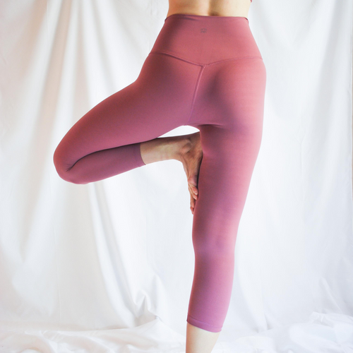 LUSH Series: Capri Leggings with Slit Pocket - Raspberry