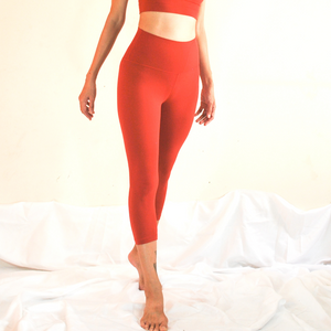 LUSH Series: Nude-Feel Capri Leggings - Crimson