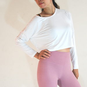 PAULA Long Sleeved Crop Top - White
