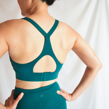 Load image into Gallery viewer, LUSH Series: Racer Back Hook Bra - Emerald Green