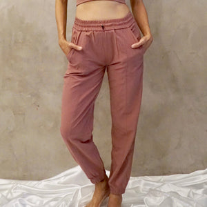 VENUS Relax Fit Pants: Dusty Rose