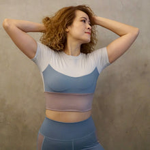 Load image into Gallery viewer, CHLOE Color Block Crop Top: Teal/Lilac