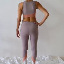 Load image into Gallery viewer, CHLOE Color Block Asymmetrical Lines Leggings: Lilac/Peach