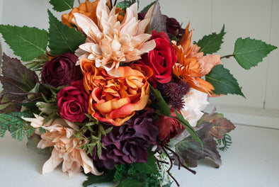 Orange and burgundy autumn silk wedding bouquet.