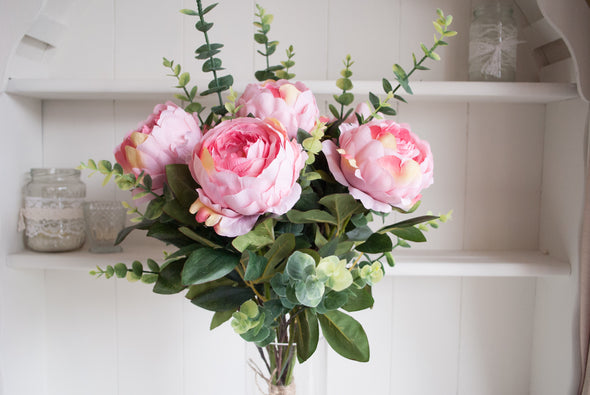 Pink peonies and eucalyptus silk flower arrangement
