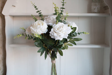 White peonies and roses silk flower tied arrangement.