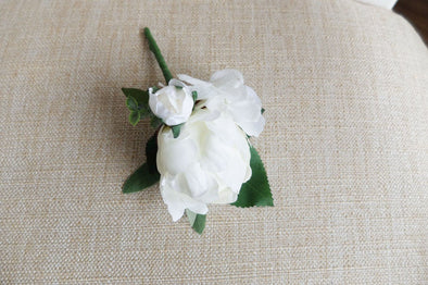 Ivory peony silk wedding buttonhole / boutonniere.