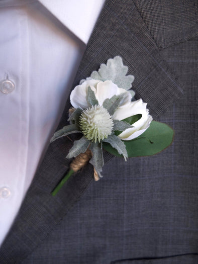 Rose and thistle silk wedding buttonhole / boutonniere.