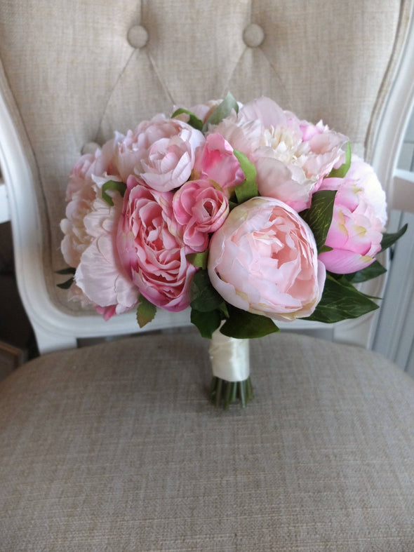 Blush pink and pale pink peony silk wedding bouquet