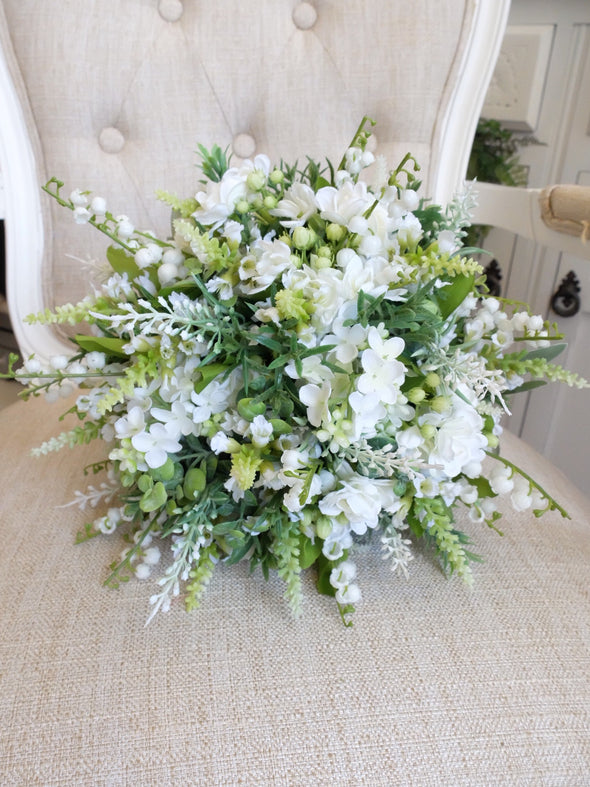 Rustic white and green wedding bouquet.